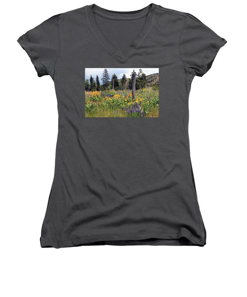 Women's V-Neck T-Shirt (Junior Cut) featuring the photograph Montana Wildflowers by Athena Mckinzie