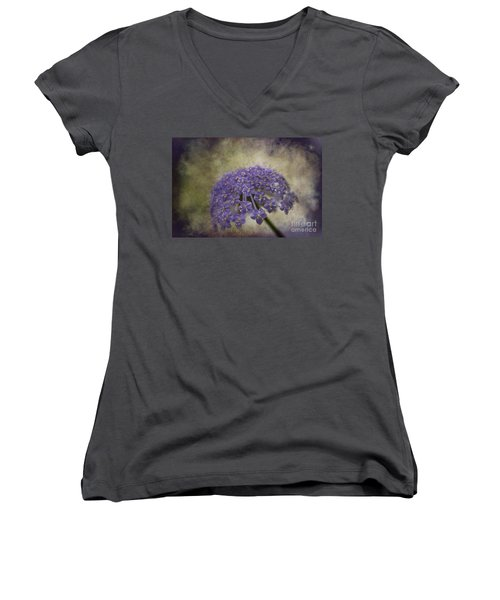 Women's V-Neck T-Shirt (Junior Cut) featuring the photograph Moody Blue by Clare Bambers