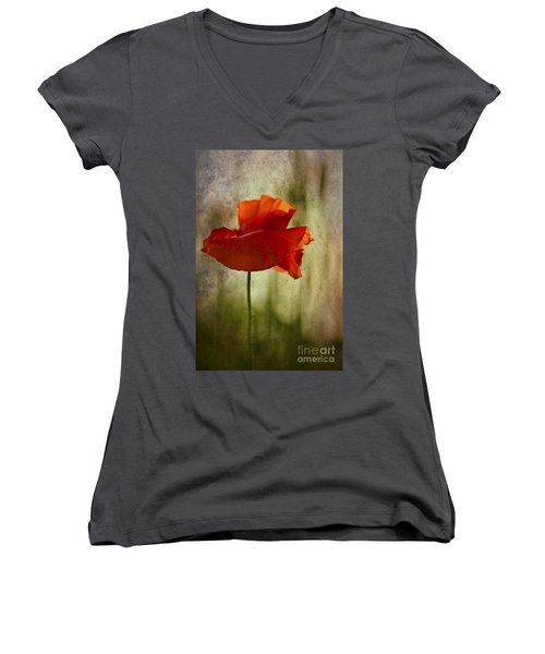 Women's V-Neck T-Shirt (Junior Cut) featuring the photograph Moody Poppy. by Clare Bambers - Bambers Images