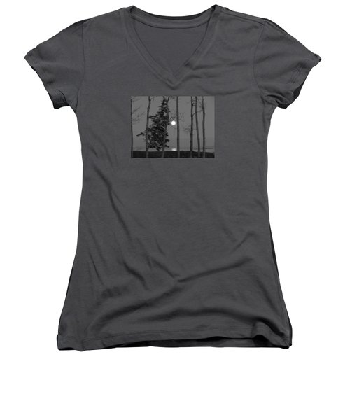 Women's V-Neck T-Shirt (Junior Cut) featuring the photograph Moon Birches Black And White by Francine Frank