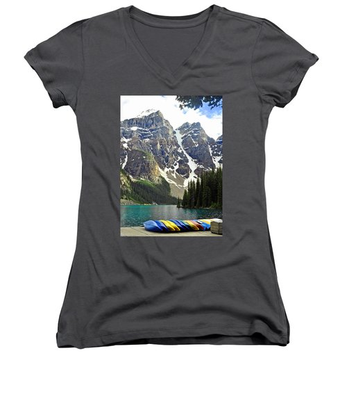 Women's V-Neck T-Shirt (Junior Cut) featuring the photograph Moraine Lake by Lisa Phillips