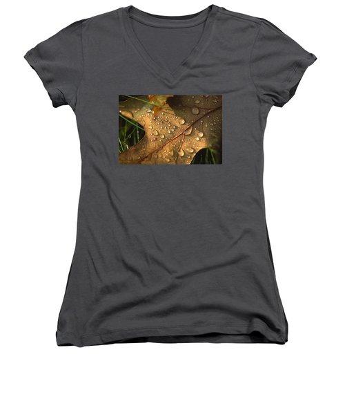 Morning Dew On Oak Leaf Women's V-Neck T-Shirt
