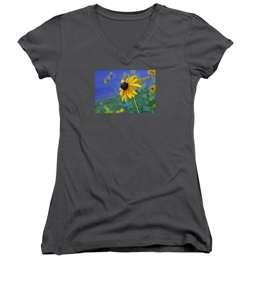 Women's V-Neck T-Shirt (Junior Cut) featuring the photograph Morning Light by Nava Thompson
