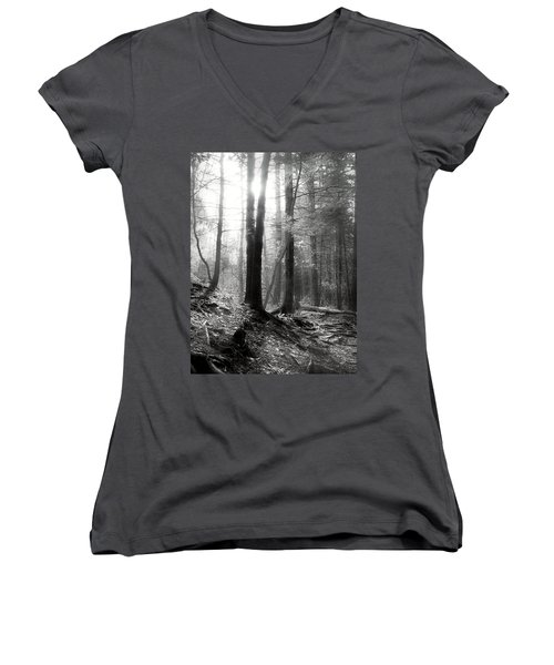 Women's V-Neck T-Shirt (Junior Cut) featuring the photograph Morning Sun by Mary Almond