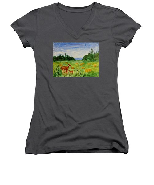 Women's V-Neck T-Shirt (Junior Cut) featuring the painting Mother Deer And Kids by Sonali Gangane