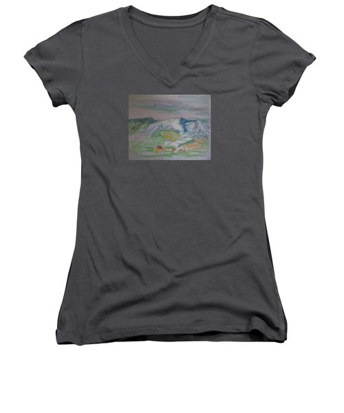 Women's V-Neck T-Shirt (Junior Cut) featuring the painting Mount Desert Back Side by Francine Frank