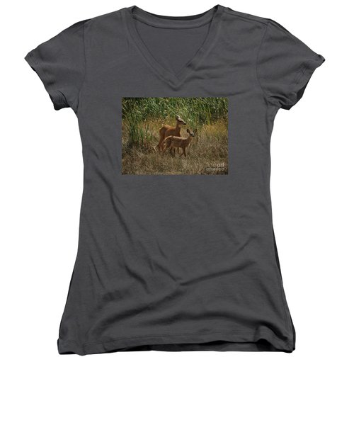 Women's V-Neck T-Shirt (Junior Cut) featuring the photograph Mount Rainier Residents by Sharon Elliott