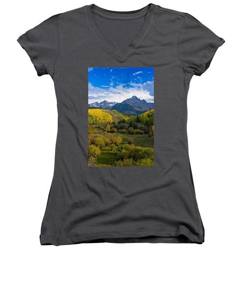 Mount Sneffels Under Autumn Sky Women's V-Neck (Athletic Fit)