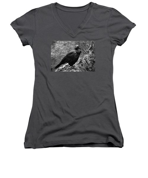 Nevermore - Black And White Women's V-Neck (Athletic Fit)