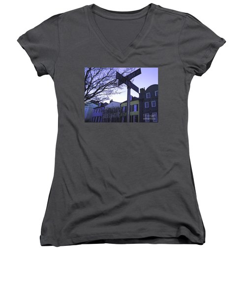 Women's V-Neck T-Shirt (Junior Cut) featuring the photograph Night In Savannah by Andrea Anderegg