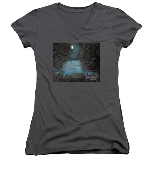 Women's V-Neck T-Shirt (Junior Cut) featuring the painting Night In The Bayou by Alys Caviness-Gober
