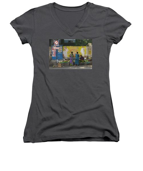 Women's V-Neck T-Shirt (Junior Cut) featuring the photograph No Parking by David Pantuso