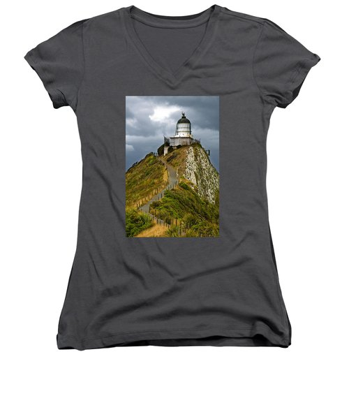 Nugget Point Light House And Dark Clouds In The Sky Women's V-Neck