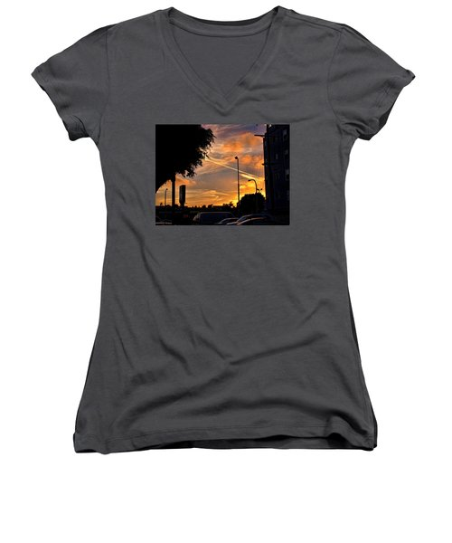 October Sunset 6 Women's V-Neck T-Shirt