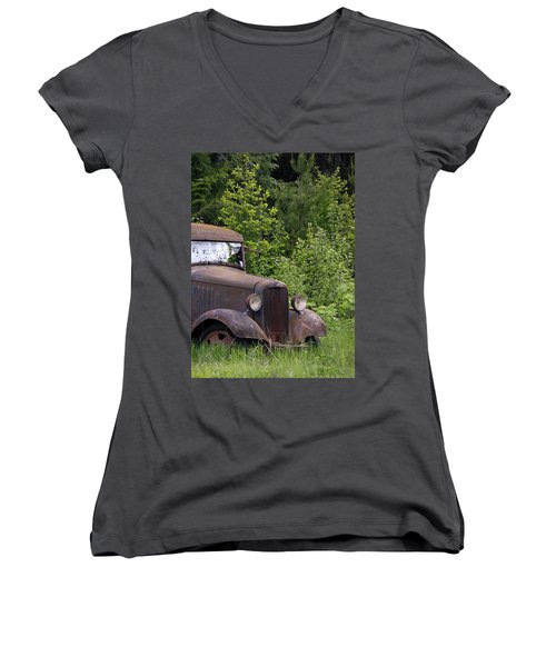 Women's V-Neck T-Shirt (Junior Cut) featuring the photograph Old Classic by Steve McKinzie