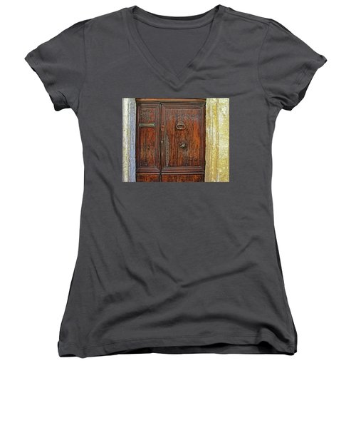 Women's V-Neck T-Shirt (Junior Cut) featuring the photograph Old Door Study Provence France by Dave Mills