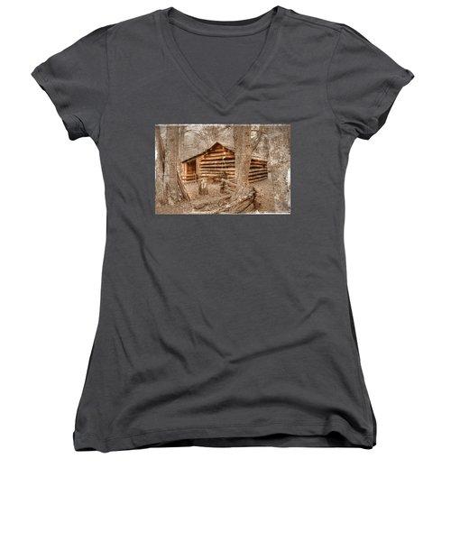 Old Mill Work Cabin Women's V-Neck T-Shirt (Junior Cut) by Dan Stone