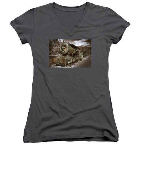 Old Mine Train Banff Women's V-Neck (Athletic Fit)
