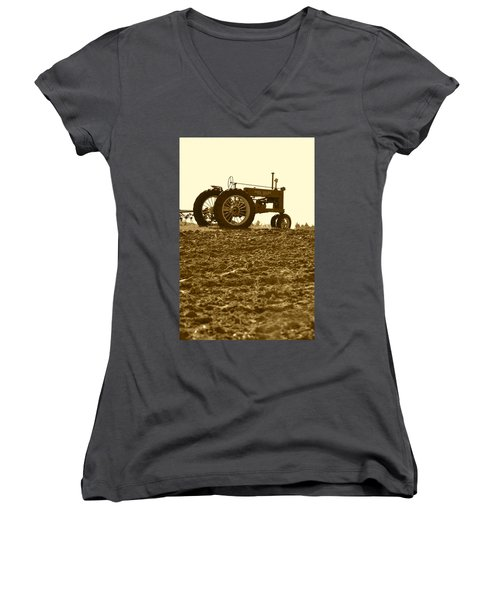 Old Tractor I In Sepia Women's V-Neck