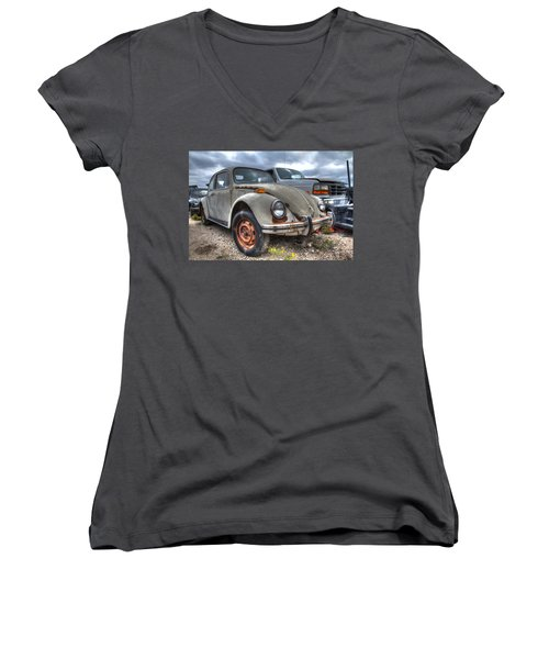Old Vw Beetle Women's V-Neck (Athletic Fit)