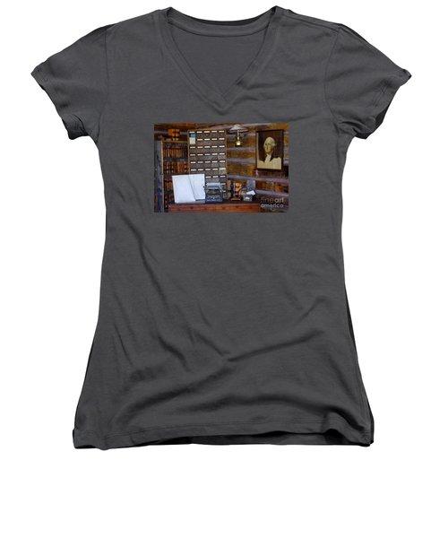 Women's V-Neck T-Shirt (Junior Cut) featuring the photograph Old West 3 by Deniece Platt