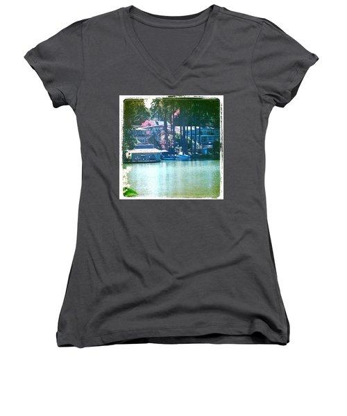 On The Lake - Lake Oswego Or Women's V-Neck (Athletic Fit)