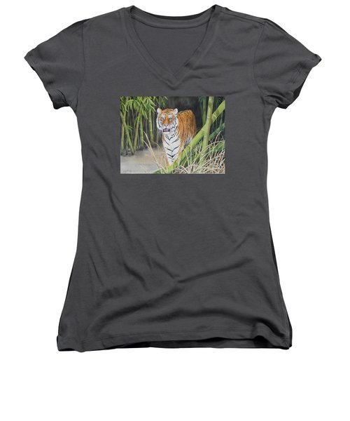 On The Prowl  Sold Prints Available Women's V-Neck T-Shirt