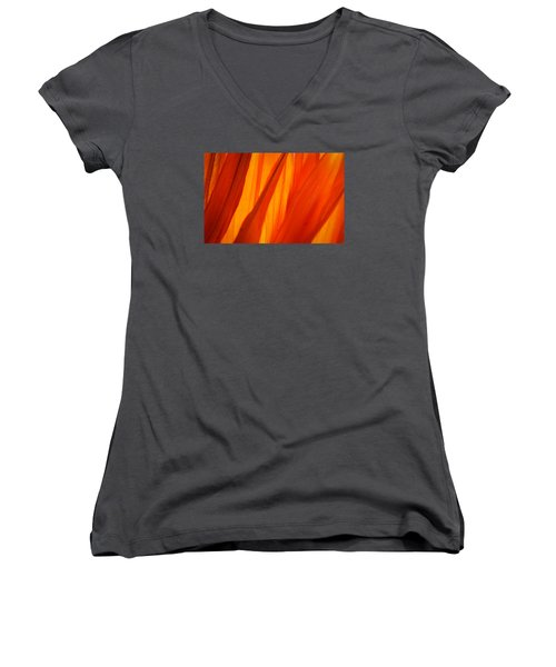 Women's V-Neck T-Shirt (Junior Cut) featuring the photograph Orange Sunshine by Bobby Villapando