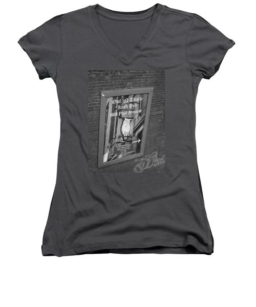 Owl And Thistle Irish Pub Women's V-Neck T-Shirt (Junior Cut) by Kym Backland