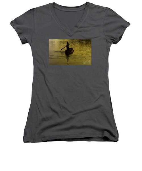 Women's V-Neck T-Shirt (Junior Cut) featuring the photograph Paddle Boy by Lydia Holly