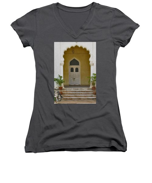 Women's V-Neck T-Shirt (Junior Cut) featuring the photograph Palace Door by David Pantuso