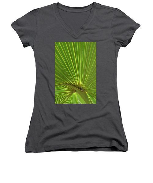 Women's V-Neck T-Shirt (Junior Cut) featuring the photograph Palm Leaf by JD Grimes