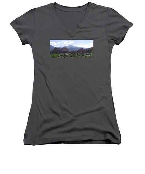 Panoramic Garden Of The Gods Women's V-Neck (Athletic Fit)