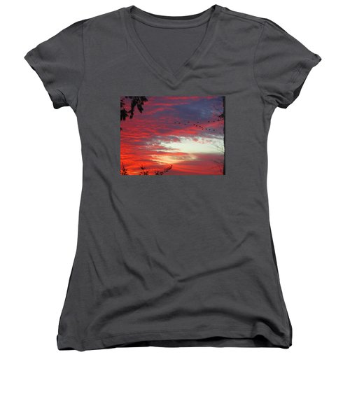 Women's V-Neck T-Shirt (Junior Cut) featuring the photograph Papaya Colored Sunset With Geese by Kym Backland