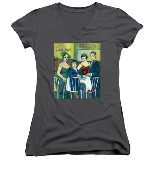 Parisian Cafe Scene In Blue Green And Brown Women's V-Neck T-Shirt