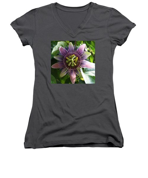 Women's V-Neck T-Shirt (Junior Cut) featuring the photograph Passion Flower 2 by Bruce Bley
