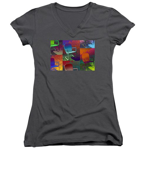 Women's V-Neck T-Shirt (Junior Cut) featuring the photograph Patio Chair by David Pantuso