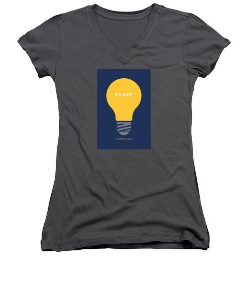 Peace A Simple Idea Women's V-Neck T-Shirt (Junior Cut) by David Klaboe