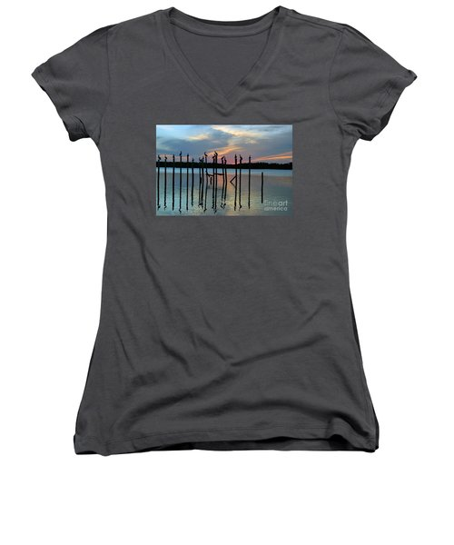Women's V-Neck T-Shirt (Junior Cut) featuring the photograph Pelican Resting End Of Day by Dan Friend