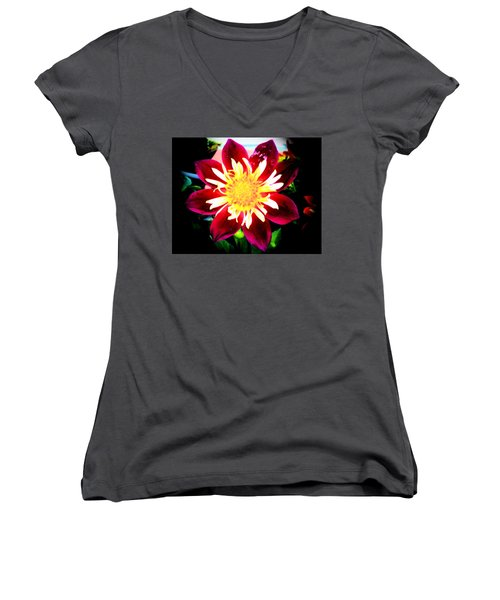 Personally Dahlia Women's V-Neck T-Shirt (Junior Cut) by Lisa Brandel