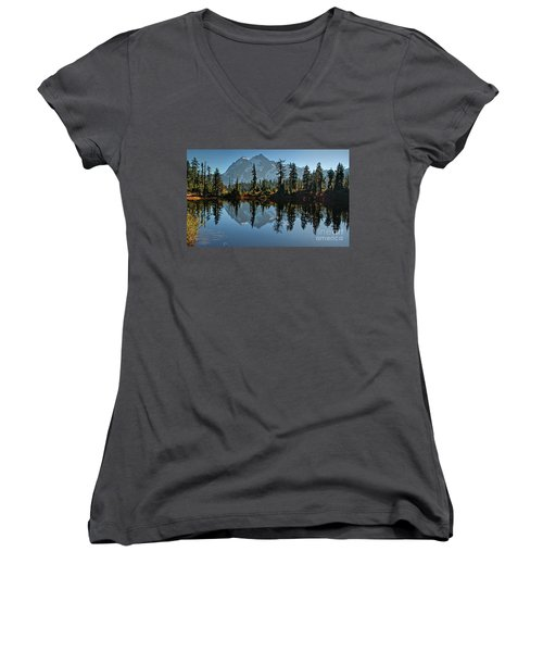 Picture Lake - Heather Meadows Landscape In Autumn Art Prints Women's V-Neck T-Shirt (Junior Cut) by Valerie Garner
