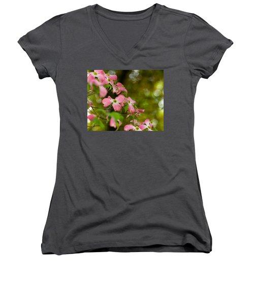 Pink Dogwood Blooms Women's V-Neck