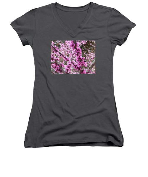 Women's V-Neck T-Shirt (Junior Cut) featuring the photograph Pink Flower by Andrea Anderegg