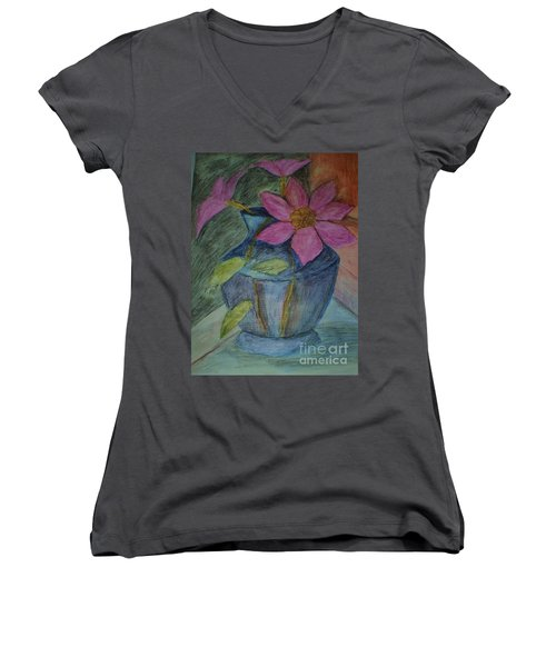 Pink Flowers In Blue Vase Women's V-Neck T-Shirt (Junior Cut) by Christy Saunders Church