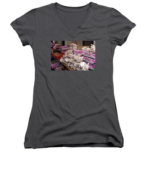 Pink Garlic Women's V-Neck T-Shirt (Junior Cut) by Carla Parris