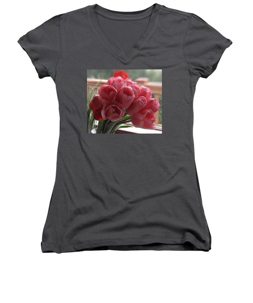 Women's V-Neck T-Shirt (Junior Cut) featuring the photograph Pink Tulips In Vase by Katie Wing Vigil