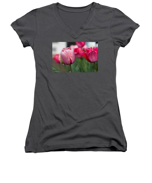 Pink Tulips With Water Drops Women's V-Neck (Athletic Fit)