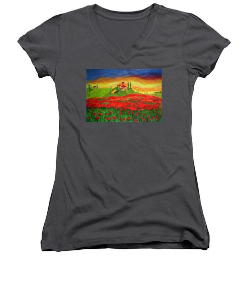 Poppy Fields Women's V-Neck T-Shirt