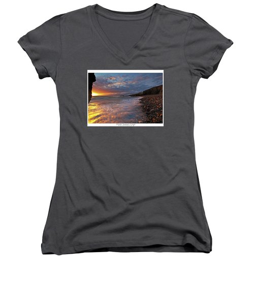 Women's V-Neck T-Shirt (Junior Cut) featuring the photograph Porth Swtan Cove by Beverly Cash