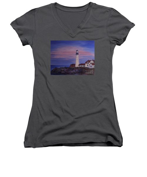 Women's V-Neck T-Shirt (Junior Cut) featuring the painting Portland Head Lighthouse At Dawn by Julie Brugh Riffey
